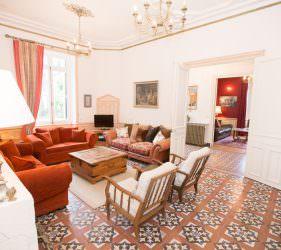 Spacious chateau salon at Chateau de la Vigne, Loire Valley